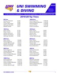 UNI Swimming & Diving 2019-20 Top Times by University of Northern Iowa