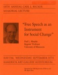 18th Annual Carl L. Becker Memorial Lecture: Free Speech as an Instrument for Social Change