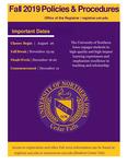 UNI Schedule of Classes, Fall 2019