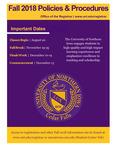 UNI Schedule of Classes, Fall 2018