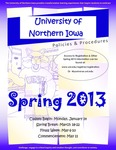 UNI Schedule of Classes, Spring 2013 by University of Northern Iowa