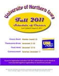 UNI Schedule of Classes, Fall 2011 by University of Northern Iowa