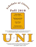 UNI Schedule of Classes, Fall 2010 by University of Northern Iowa