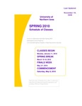 UNI Schedule of Classes, Spring 2010 by University of Northern Iowa