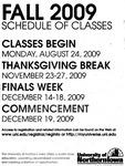 UNI Schedule of Classes, Fall 2009