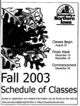 UNI Schedule of Classes, Fall 2003