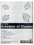 UNI Schedule of Classes, Fall 2002 by University of Northern Iowa