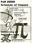 UNI Schedule of Classes, Fall 2000 by University of Northern Iowa