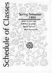 UNI Schedule of Classes, Spring 1998
