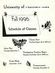 UNI Schedule of Classes, Fall 1996