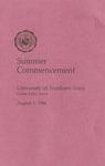 Summer Commencement [Program], August 1, 1986