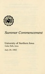 Summer Commencement [Program], July 29, 1983 by University of Northern Iowa
