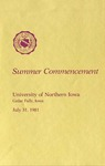 Summer Commencement [Program], July 31, 1981