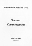 Summer Commencement [Program], August 3, 1973 by University of Northern Iowa