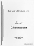 Summer Commencement [Program], July 31, 1970