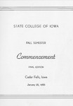 Fall Commencement [Program], January 26, 1966 by State College of Iowa