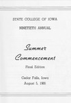 Summer Commencement [Program], August 5, 1966