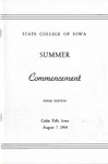 Summer Commencement [Program], August 7, 1964