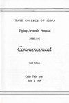 Spring Commencement [Program], June 4, 1964 by University of Northern Iowa