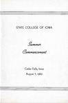 Summer Commencement [Program], August 7, 1963 by State College of Iowa