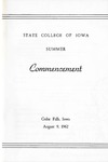 Summer Commencement [Program], August 9, 1962 by State College of Iowa