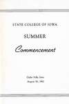 Summer Commencement [Program], August 10, 1961 by State College of Iowa
