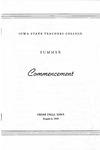 Summer Commencement [Program], August 6, 1959