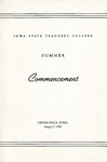 Summer Commencement [Program], August 7, 1958 by Iowa State Teachers College