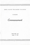 Summer Commencement [Program], August 17, 1954 by Iowa State Teachers College