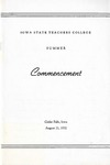 Summer Commencement [Program], August 21, 1952