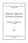 Summer Quarter Commencement [Program], August 17, 1944