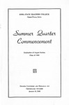 Summer Quarter Commencement [Program], August 19, 1943