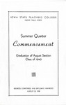 Summer Quarter Commencement [Program], August 22, 1940