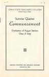 Summer Quarter Commencement [Program], August 24, 1939 by Iowa State Teachers College