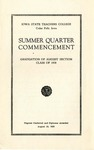 Summer Quarter Commencement [Program], August 18, 1938