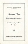 Summer Term Commencement [Program], August 19, 1937