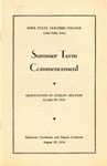 Summer Term Commencement [Program], August 20, 1936 by Iowa State Teachers College