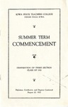 Summer Term Commencement [Program], August 22, 1935 by Iowa State Teachers College