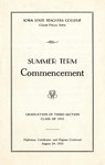 Summer Term Commencement [Program], August 24, 1933 by Iowa State Teachers College