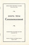 Spring Term Commencement [Program], May 29, 1933