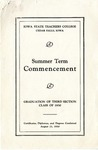 Summer Term Commencement [Program], August 21, 1930