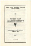 Winter Term Commencement [Program], March 7, 1930 by Iowa State Teachers College