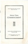 Spring Term Commencement [Program], June 3, 1929 by Iowa State Teachers College