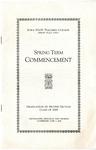 Spring Term Commencement [Program], June 3, 1929