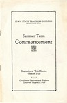 Summer Term Commencement [Program], August 23, 1928