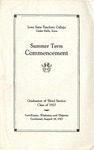 Summer Term Commencement [Program], August 18, 1927 by Iowa State Teachers College