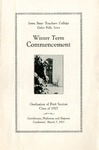 Winter Term Commencement [Program], March 7, 1927