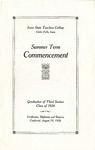 Summer Term Commencement [Program], August 19, 1926 by Iowa State Teachers College