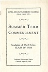 Summer Term Commencement [Program], August 21, 1924