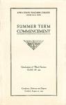 Summer Term Commencement [Program], August 23, 1923